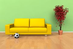 Modern living room interior. Yellow leather sofa with decorative tree in the living room royalty free illustration