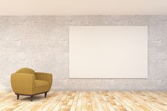 Modern living room with armchair and banner. Modern living room interior with armchair and empty banner. Mock up, 3D Rendering Royalty Free Stock Image