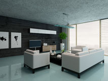 Modern living room interior with black stone wall Royalty Free Stock Photos