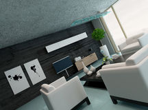 Modern living room interior with black stone wall Royalty Free Stock Images