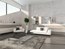 Modern living room interior with cabinet and stone wall Royalty Free Stock Photography