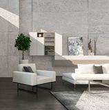 Modern living room interior with cabinet and stone wall Stock Image