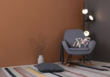 Modern living room interior with comfortable rocking chair Royalty Free Stock Photography