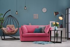 Modern living room interior with sofa. Modern living room interior with comfortable sofa stock photo