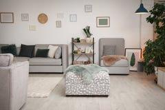 Modern living room interior with comfortable sofa. And ottoman stock image