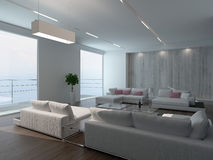 Modern living room interior with concrete wall Royalty Free Stock Photography