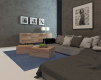 Modern living room interior with concrete walls Royalty Free Stock Image