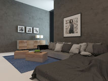 Modern living room interior with concrete walls Stock Images