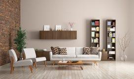 Modern living room interior 3d rendering royalty free illustration