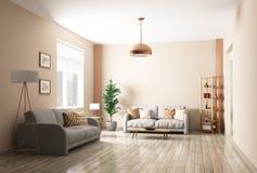 Modern living room interior 3d rendering Royalty Free Stock Image