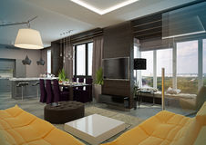 Modern Living room interior. Stock Photos