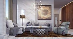 Modern living room interior design. 3D Rendering vector illustration