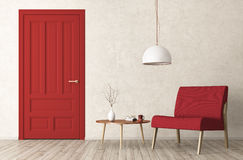 Modern living room interior with door and armchair 3d rendering. Modern interior of living room with red door, armchair and coffee table 3d rendering Stock Photography