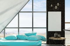 Modern living room with banner Stock Image