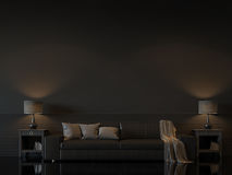 Modern living room interior with empty black wall 3d rendering image Royalty Free Stock Photo