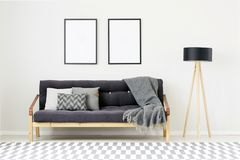 Modern room with empty posters. Modern living room interior with empty posters on white wall above dark sofa with cushions Stock Photography