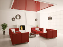 Modern living room interior with fireplace 3d. Modern interior of living room with fireplace 3d render Stock Photo