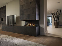 Modern living room interior. With fireplace Stock Image