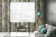 Modern living roo mwith copyspace. Modern living room interior with furniture, city view and copy space. 3D Rendering Royalty Free Stock Images