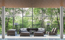 Modern living room interior with garden view 3d rendering image. There are white floor,wood lattice ceiling and large window overlooking the surrounding garden Royalty Free Stock Photography