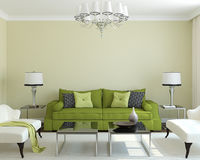 Modern living-room. Modern living-room interior with green couch.3d render royalty free illustration