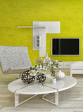Modern living room interior with green wall Royalty Free Stock Photo