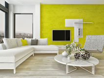 Modern living room interior with green wall Stock Images