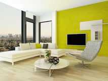 Modern living room interior with green wall Royalty Free Stock Images