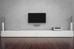 Modern Living Room with TV Royalty Free Stock Photos