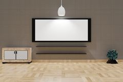 Modern Living room interior with a large white board and lampshade on a top brown wall royalty free illustration