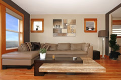 Modern living room interior with leather sofa Stock Photography