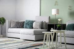 Modern living room interior. With comfortable sofa Royalty Free Stock Photos