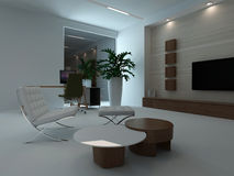 Modern living room interior at night Stock Photo