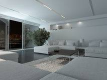 Modern living room interior at night Royalty Free Stock Image