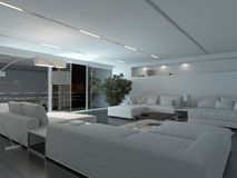 Modern living room interior at night Stock Photos