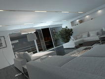 Modern living room interior at night Stock Image