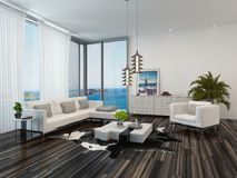 Modern living room interior overlooking the ocean Stock Photography