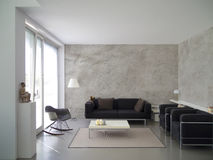 Modern living room interior with rough cast wall Royalty Free Stock Photo