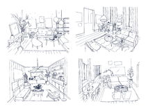 Modern living room interior set. Furnished drawing room collection. Contour vector illustration sketch on light Royalty Free Stock Photo