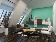Modern living room interior with sloping windows Royalty Free Stock Image
