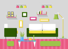 Modern Living Room Interior with Sofa, Book Shelves and Lamps. Room Design with Furniture Royalty Free Stock Photos