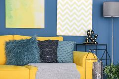 Modern living room interior with sofa. Modern living room interior with yellow sofa Stock Images