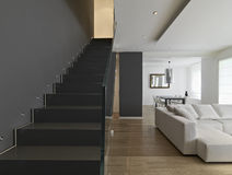 Modern living room. Interior of modern living room , staircase , fabric sofa and wooden floor Royalty Free Stock Photo