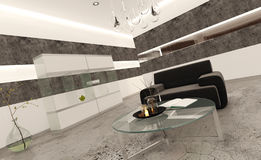Modern living room interior with stone tiles and concrete floor Royalty Free Stock Photography