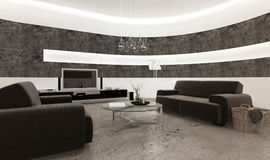 Modern living room interior with stone tiles and concrete floor Royalty Free Stock Images