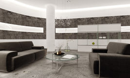 Modern living room interior with stone tiles and concrete floor Stock Photography