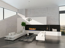 Modern living room interior with stone wall and fireplace Stock Photography
