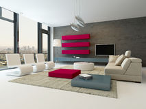 Modern living room interior with stone wall and red cupboard Stock Photos