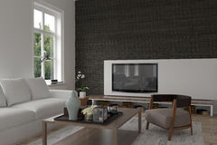 Modern living room interior with a television Royalty Free Stock Image