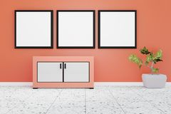 Modern living room interior with three white board on a orange wall vector illustration